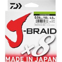 TRESSE DAIWA J BRAID X 8 CHARTREUSE  150M